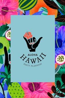 Plantilla de patrón de flores tropicales para logotipo de marca