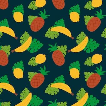 Plantilla de patrón de fruta de piñas y plátanos