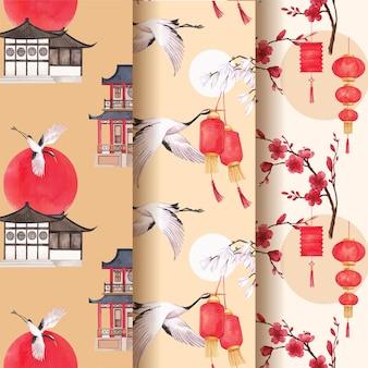 Plantilla de patrón con ilustración acuarela de diseño de concepto de feliz año nuevo chino