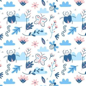 Plantilla de patrón de insectos y flores dibujados a mano