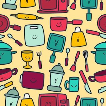 Plantilla de patrón de utensilios de cocina de diseño doodle