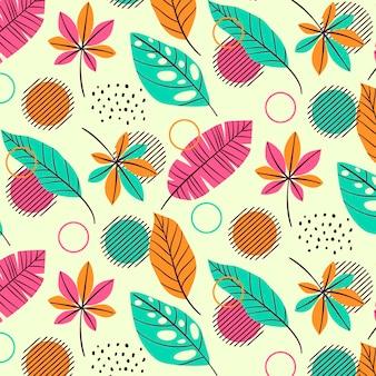 Plantilla de patrón de verano con hojas tropicales