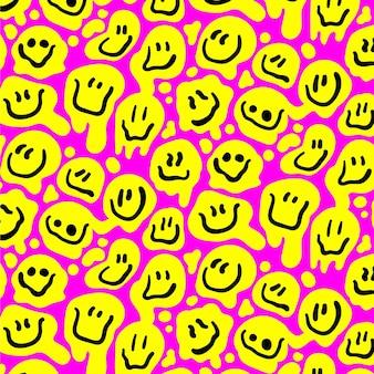 Plantilla de patrones sin fisuras emoticon distorsionado amarillo feliz