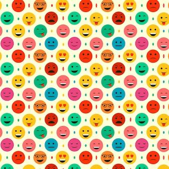 Plantilla de patrones sin fisuras de emoticonos y puntos