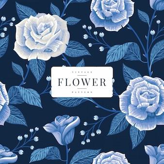 Plantilla de patrones sin fisuras de flores rosas azules