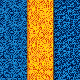 Plantilla de patrones sin fisuras de líneas azules y amarillas