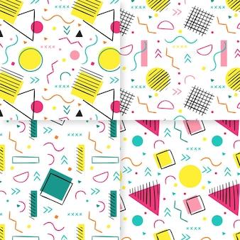 Plantilla de patrones sin fisuras de memphis de líneas y puntos