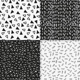 Plantilla de patrones sin fisuras de pequeñas formas en blanco y negro