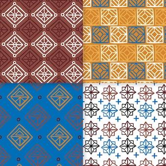 Plantilla de patrones sin fisuras de songket mosaico