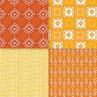 Plantilla de patrones sin fisuras songket naranja y amarillo