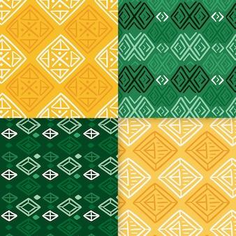 Plantilla de patrones sin fisuras songket verde y amarillo