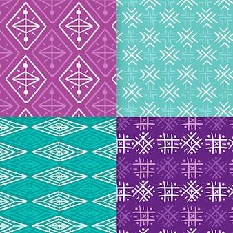 Plantilla de patrones sin fisuras songket violeta y azul