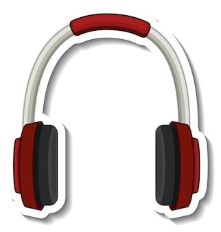 Una plantilla de pegatina con auriculares aislados.