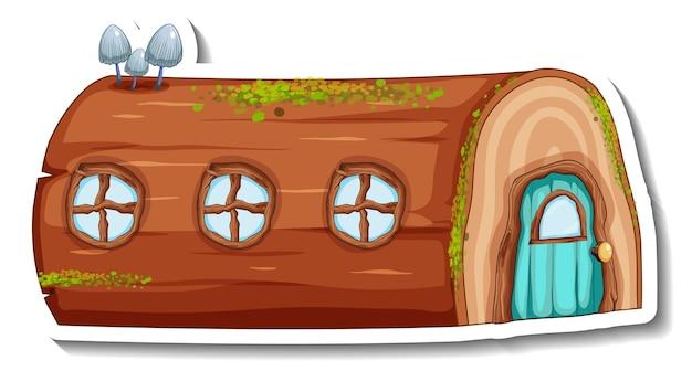 Una plantilla de pegatina con casa de troncos de fantasía aislada