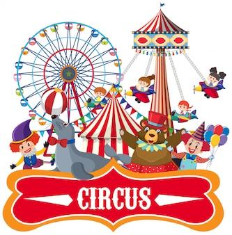 Plantilla de pegatina para circo con muchos animales