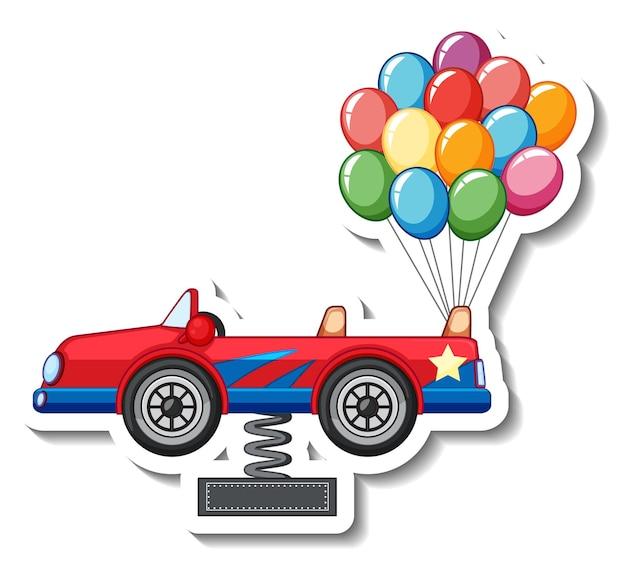 Plantilla de pegatina con un coche y muchos globos.