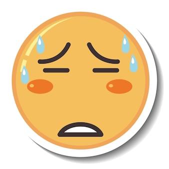 Una plantilla de pegatina con emoji de cara cansada aislado
