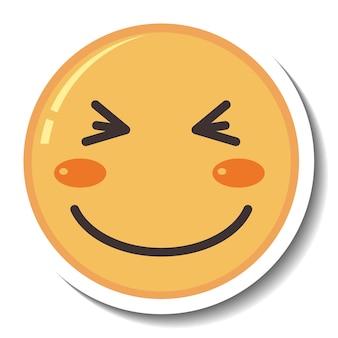 Una plantilla de pegatina con emoji de cara feliz aislado