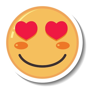 Una plantilla de pegatina de emoji con ojos de corazón aislado