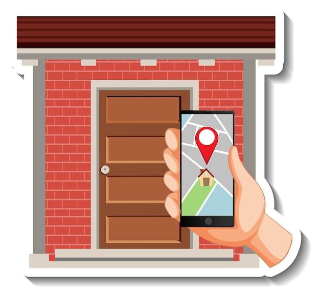 Una plantilla de pegatina con frente de casa y teléfono inteligente.