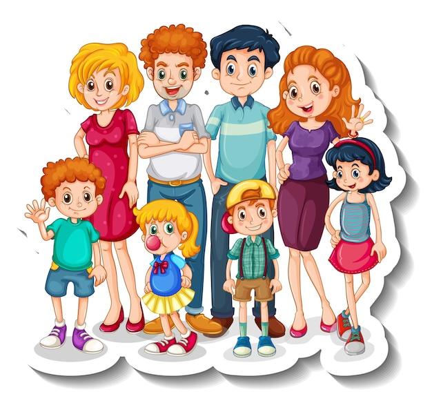 Una plantilla de pegatina con un gran personaje de dibujos animados de miembros de la familia.