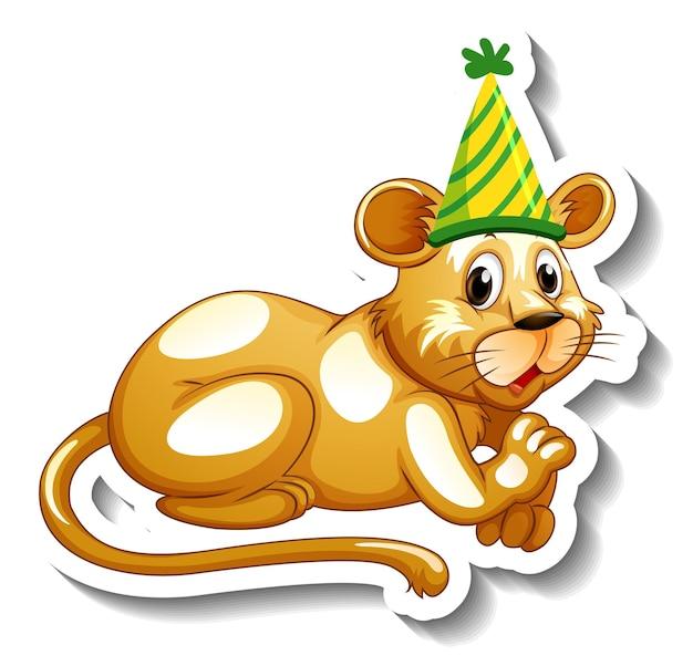 Una plantilla de pegatina con una leona con gorro de fiesta.
