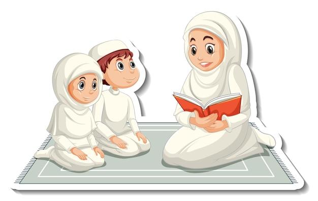 Una plantilla de pegatina con una madre musulmana leyendo un libro a sus hijos.