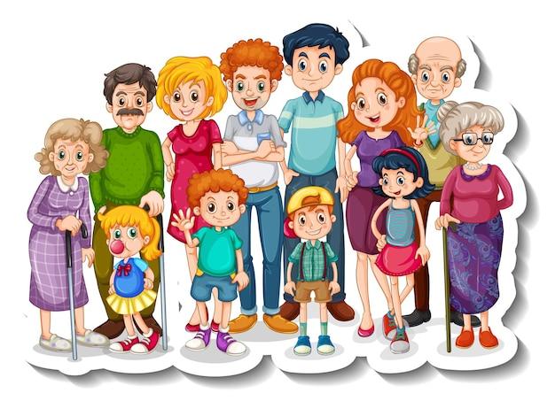 Una plantilla de pegatina con miembros de la gran familia feliz
