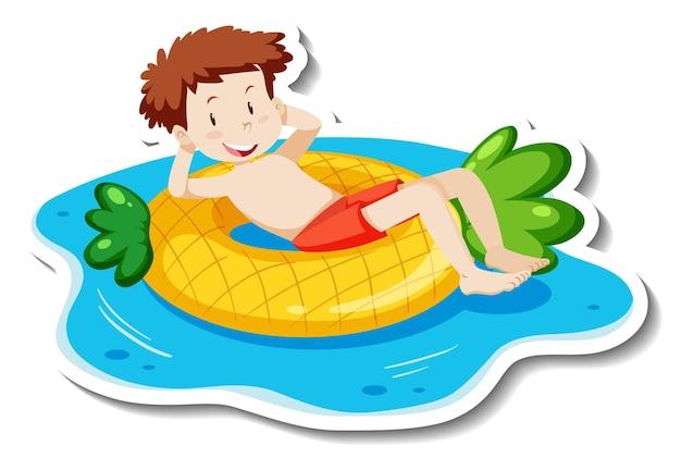 Una plantilla de pegatina con un muchacho adolescente tendido en un anillo de natación.