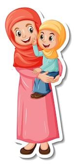 Una plantilla de pegatina con musulmanes madre e hija.
