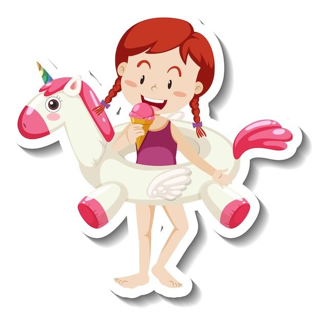 Una plantilla de pegatina de una niña con un anillo de natación de unicornio.