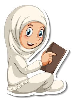 Una plantilla de pegatina con una niña musulmana leyendo un personaje de dibujos animados de un libro