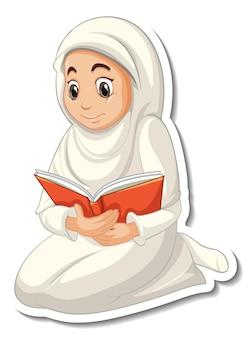 Una plantilla de pegatina con una niña musulmana rezando personaje de dibujos animados