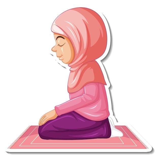 Una plantilla de pegatina con una niña musulmana sentada en una alfombra y rezando