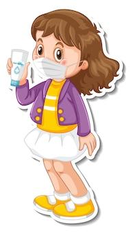 Una plantilla de pegatina con una niña con personaje de dibujos animados de máscara médica