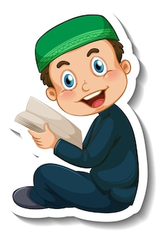 Una plantilla de pegatina con un niño musulmán leyendo el libro del corán.