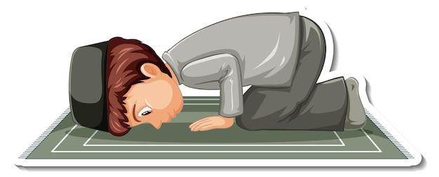 Una plantilla de pegatina con un niño musulmán sentado y rezando.