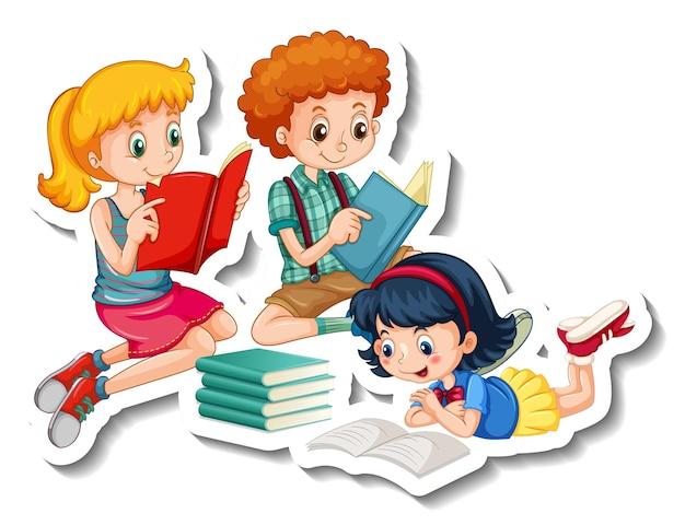 Plantilla de pegatina con niños leyendo sus libros sobre fondo blanco.