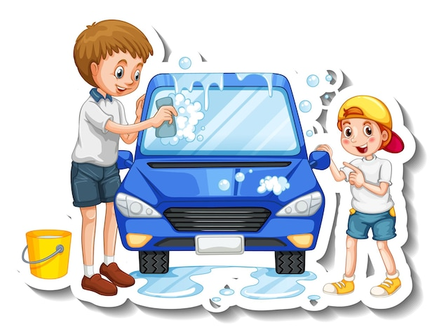 Una plantilla de pegatina con padre lavando coche con su hijo.