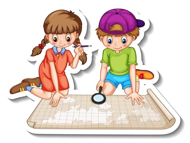 Plantilla de pegatina con un par de niños mirando el mapa del mundo.