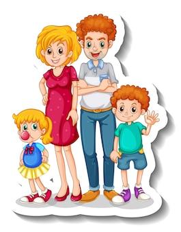 Una plantilla de pegatina con un pequeño personaje de dibujos animados de miembros de la familia.