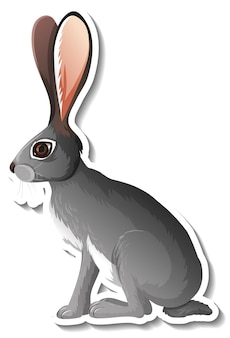 Una plantilla de pegatina de personaje de dibujos animados de conejo.