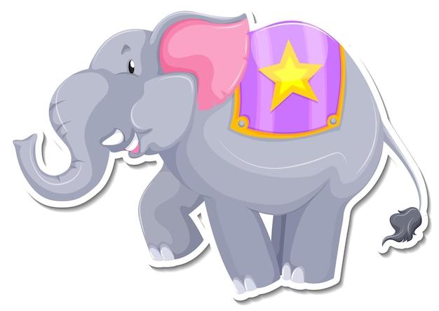 Una plantilla de pegatina de personaje de dibujos animados de elefante