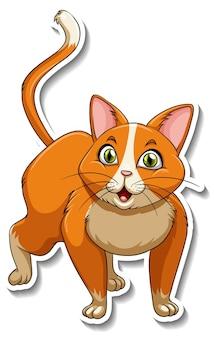 Una plantilla de pegatina de personaje de dibujos animados de gato