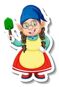Una plantilla de pegatina con personaje de dibujos animados de gnomo femenino