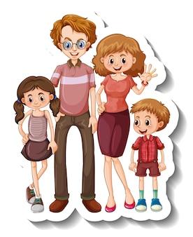 Una plantilla de pegatina con un personaje de dibujos animados de miembros de la familia