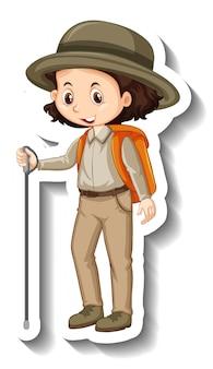 Una plantilla de pegatina de personaje de dibujos animados de niña.