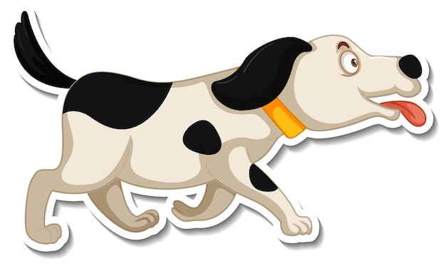 Una plantilla de pegatina de personaje de dibujos animados de perro