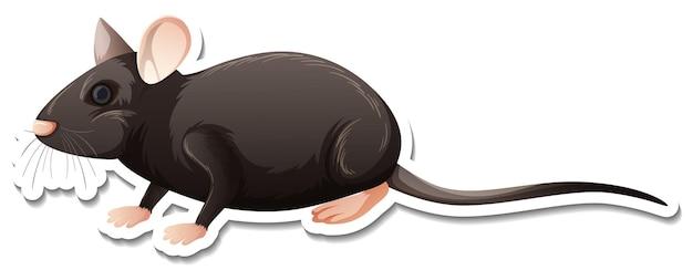 Una plantilla de pegatina de personaje de dibujos animados de rata.
