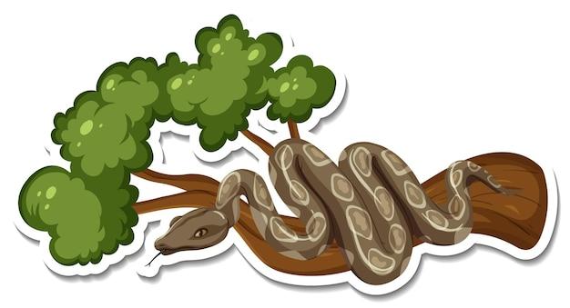 Una plantilla de pegatina de personaje de dibujos animados de serpiente